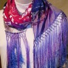 Devore Satin Silk Fringed Scarf Purple Pink Blue 14×72
