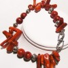 """Tomato Sticks"" coral and silver bracelet"