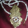 Brass and pearl oak leaf necklace