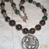 Bloodstone and jade Ouroboros necklace