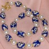 Medieval cross blue porcelain necklace with pearls