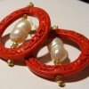 Cinnabar and Pearl Large Hoop Earrings