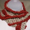Beige and Burgundy Loose-weave Scarf